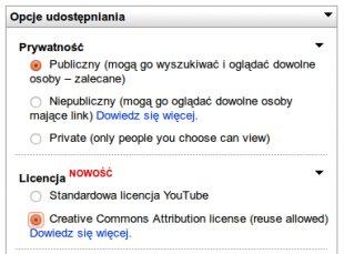 YouTube dodaje możliwość użycia licencji CC!